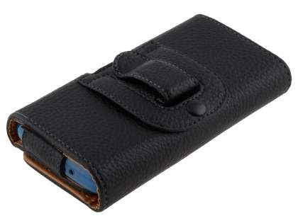 Sony Xperia T2 Ultra Synthetic Leather Belt Pouch (Bumper Case Compatible) - Classic Black
