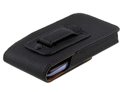Textured Synthetic Leather Vertical Belt Pouch for HTC
