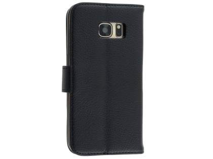 Synthetic Leather Wallet Case with Stand for Samsung Galaxy S7 - Classic Black