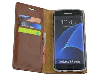 Mercury Blue Moon Wallet Case for Samsung Galaxy S7 edge - Brown