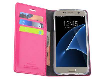 Mercury Goospery Blue Moon Wallet Case for Samsung Galaxy S7 - Pink