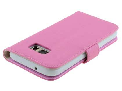 Synthetic Leather Wallet Case with Stand for Samsung Galaxy S7 - Baby Pink