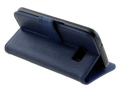 Synthetic Leather Wallet Case with Stand for Samsung Galaxy S7 - Dark Blue