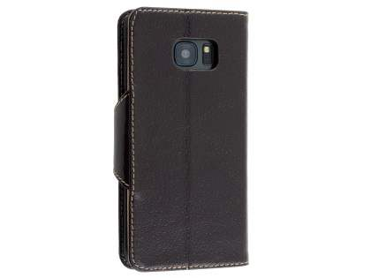 Top Grain Leather Wallet Case With Stand for Samsung Galaxy S7 edge - Dark Brown