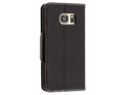 Top Grain Leather Wallet Case With Stand for Samsung Galaxy S7 - Dark Brown Leather Wallet Case