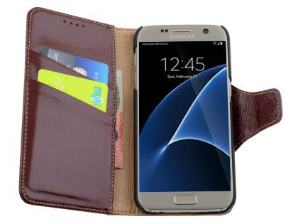 Top Grain Leather Wallet Case With Stand for Samsung Galaxy S7 - Rosewood