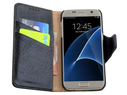 Top Grain Leather Wallet Case With Stand for Samsung Galaxy S7 - Classic Black