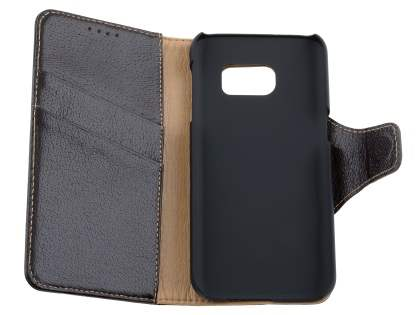 Top Grain Leather Wallet Case With Stand for Samsung Galaxy S7 - Dark Brown