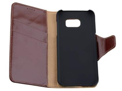 Top Grain Leather Wallet Case With Stand for Samsung Galaxy S7 edge - Rosewood