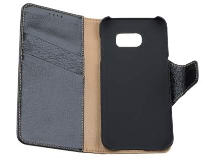 Top Grain Leather Wallet Case With Stand for Samsung Galaxy S7 edge - Classic Black