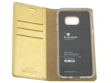 Mercury Goospery Blue Moon Wallet Case for Samsung Galaxy S7 edge - Gold