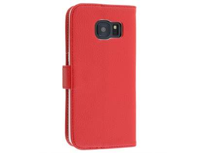 Synthetic Leather Wallet Case with Stand for Samsung Galaxy S7 edge - Red Leather Wallet Case