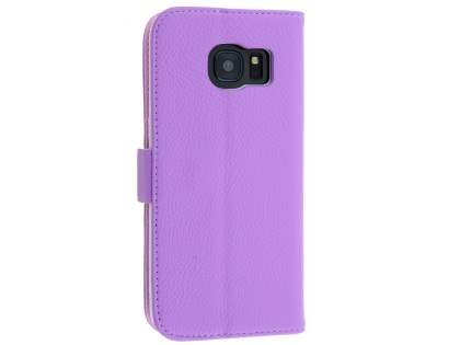 Synthetic Leather Wallet Case with Stand for Samsung Galaxy S7 edge - Purple Leather Wallet Case
