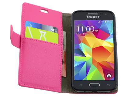 Samsung Galaxy Core Prime Slim Synthetic Leather Wallet Case with Stand - Pink
