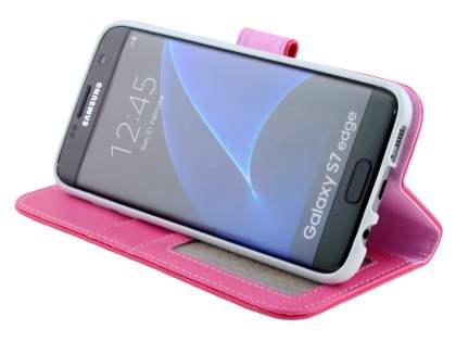 Synthetic Leather Wallet Case with Stand for Samsung Galaxy S7 edge - Pink