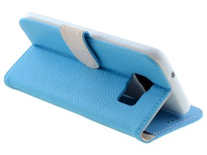 Synthetic Leather Wallet Case with Stand for Samsung Galaxy S7 edge - Sky Blue