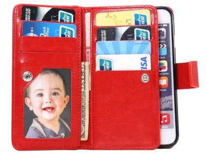 2-in-1 Synthetic Leather Wallet Case for iPhone 6s/6 - Red
