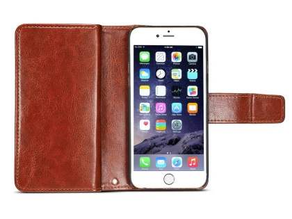 2-in-1 Synthetic Leather Wallet Case for iPhone 6s Plus/6 Plus - Brown