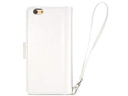2-in-1 Synthetic Leather Wallet Case for iPhone 6s Plus/6 Plus - Pearl White