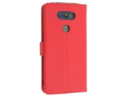 LG G5 Slim Synthetic Leather Wallet Case with Stand - Red Leather Wallet Case