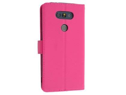 LG G5 Slim Synthetic Leather Wallet Case with Stand - Pink Leather Wallet Case