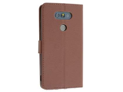 LG G5 Slim Synthetic Leather Wallet Case with Stand - Brown Leather Wallet Case