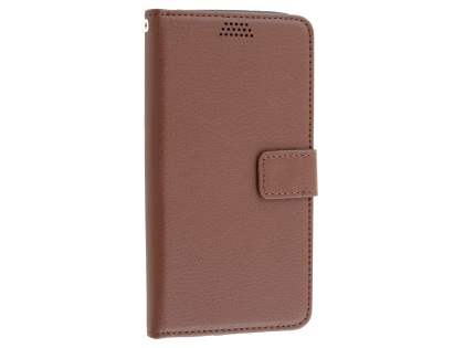 LG G5 Slim Synthetic Leather Wallet Case with Stand - Brown