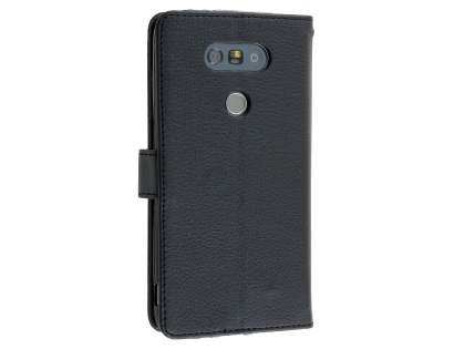 LG G5 Slim Synthetic Leather Wallet Case with Stand - Classic Black Leather Wallet Case