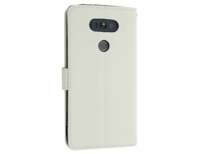 LG G5 Slim Synthetic Leather Wallet Case with Stand - Pearl White Leather Wallet Case
