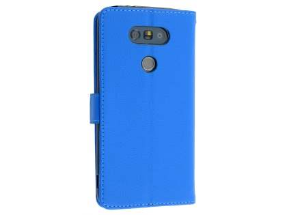 LG G5 Slim Synthetic Leather Wallet Case with Stand - Blue Leather Wallet Case
