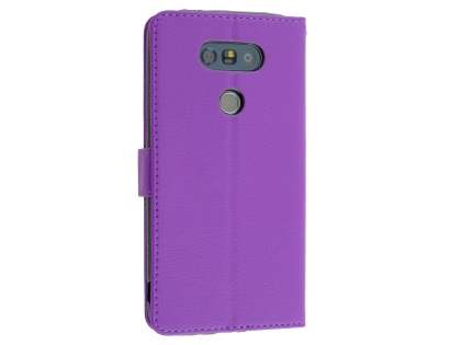 LG G5 Slim Synthetic Leather Wallet Case with Stand - Purple Leather Wallet Case