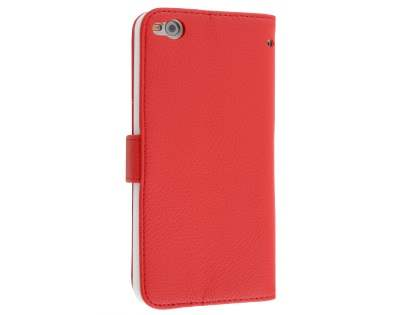HTC One X9 Synthetic Leather Wallet Case with Stand - Red Leather Wallet Case