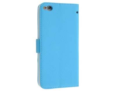 HTC One X9 Synthetic Leather Wallet Case with Stand - Sky Blue Leather Wallet Case