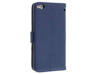 HTC One X9 Synthetic Leather Wallet Case with Stand - Dark Blue Leather Wallet Case