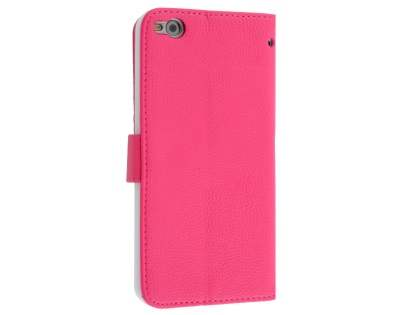 HTC One X9 Synthetic Leather Wallet Case with Stand - Pink Leather Wallet Case
