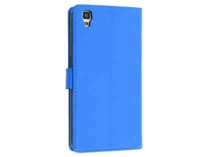 Slim Synthetic Leather Wallet Case with Stand for Oppo R7s - Blue Leather Wallet Case