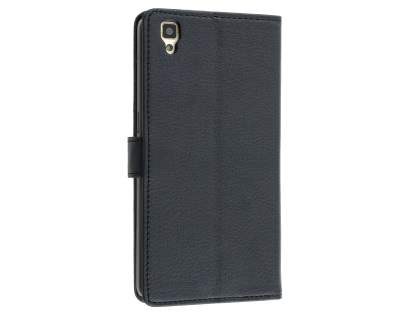 Slim Synthetic Leather Wallet Case with Stand for Oppo R7s - Classic Black Leather Wallet Case