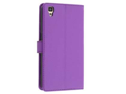 Slim Synthetic Leather Wallet Case with Stand for Oppo R7s - Purple Leather Wallet Case