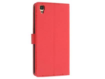 Slim Synthetic Leather Wallet Case with Stand for Oppo R7s - Red Leather Wallet Case