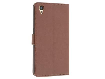 Slim Synthetic Leather Wallet Case with Stand for Oppo R7s - Brown Leather Wallet Case