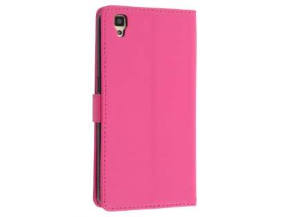 Slim Synthetic Leather Wallet Case with Stand for Oppo R7s - Pink Leather Wallet Case