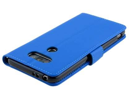 LG G5 Slim Synthetic Leather Wallet Case with Stand - Blue