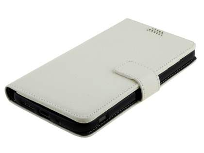 LG G5 Slim Synthetic Leather Wallet Case with Stand - Pearl White