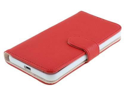 Synthetic Leather Wallet Case with Stand for HTC One X9 - Red