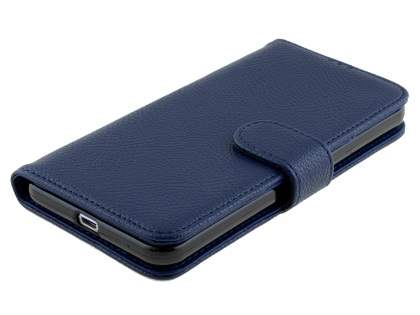 HTC One X9 Synthetic Leather Wallet Case with Stand - Dark Blue