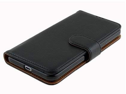 HTC One X9 Synthetic Leather Wallet Case with Stand - Classic Black