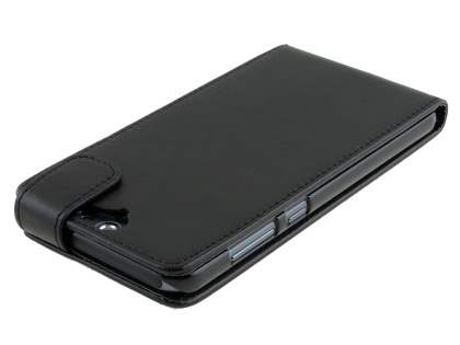 Synthetic Leather Flip Case for HTC Telstra Signature Premium - Classic Black