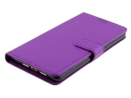 Slim Synthetic Leather Wallet Case with Stand for Oppo R7s - Purple