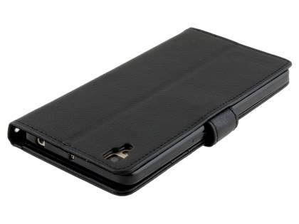 Slim Synthetic Leather Wallet Case with Stand for Oppo R7s - Classic Black