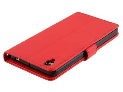Slim Synthetic Leather Wallet Case with Stand for Oppo R7s - Red